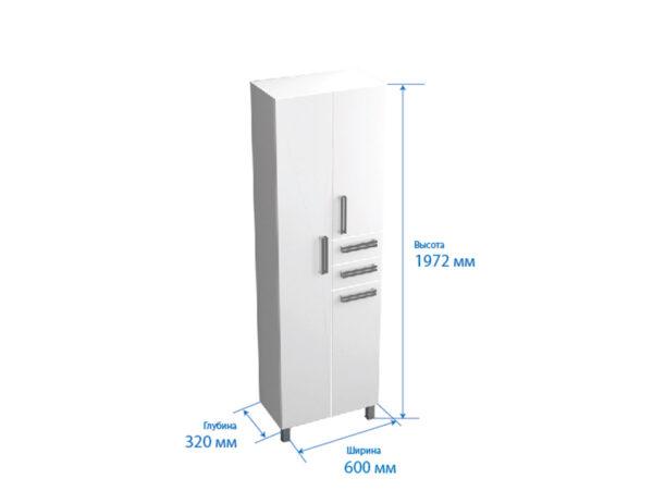 պենալ Նիկա 60սմ սպիտակ, զամբյուղ,,2 դարակ,2 դուռ,ձախ.